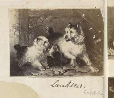 Fotoreproductie van een schilderij van Edwin Henry Landseer; Old Shepherd's chief Mourner Landseer