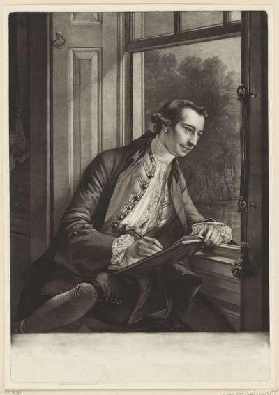 Portret van Paul Sandby, tekenend aan het venster