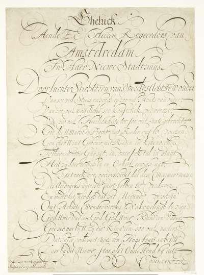 Kalligrafisch schrift opgedragen aan het stadsbestuur van Amsterdam ter gelegenheid van het nieuwe Stadhuis