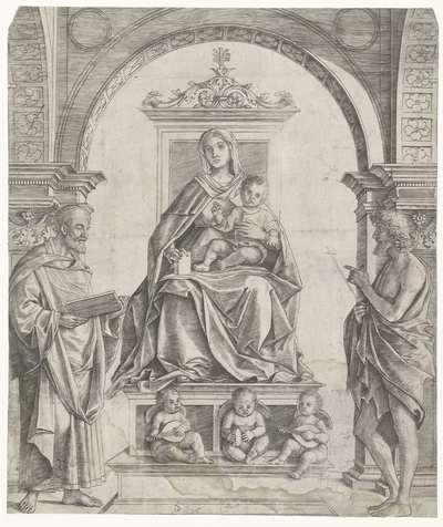 Maria met kind zittend op een troon tussen Petrus en Johannes de Doper met musicerende engelen en drie vrouwelijke heiligen op de achtergrond