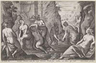 Actaeon wordt vervloekt door de badende Diana