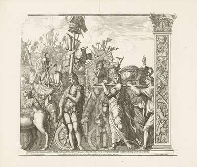 Soldaten dragen de buit gemaakte uitrusting van de vijanden; Triomf van Caesar