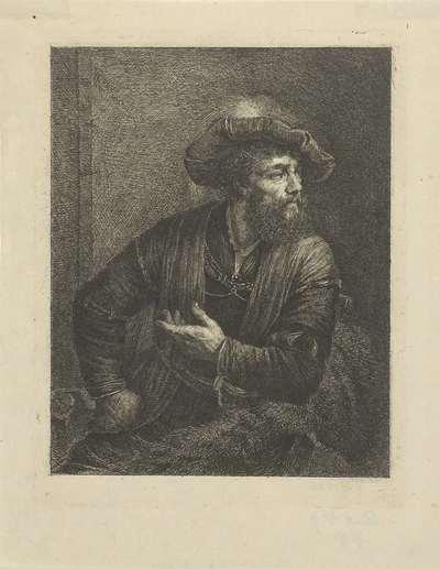 Portret van onbekende man met gevederde baret