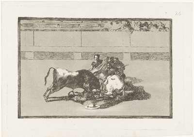 Een picador is van zijn paard gestoten en ligt onder de stier; Caida de un picador de su caballo debajo del toro; La Tauromaquia; Stierenvechten