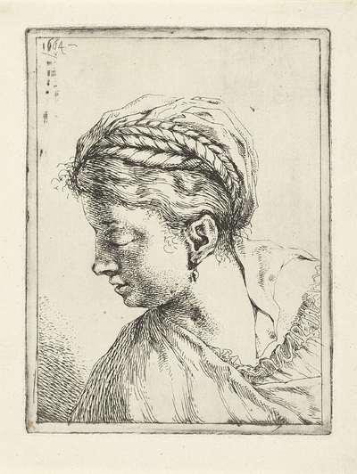 Image from object titled Hoofd van een vrouw met vlechten en oorbel