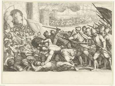 De troepen van Ferdinando I de' Medici bestormen een stadspoort; Leven van Ferdinando I de' Medici