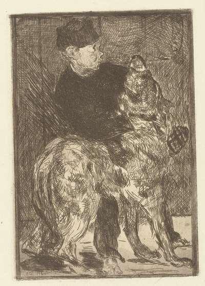 Jongen speelt met hond; Le garçon et le chien