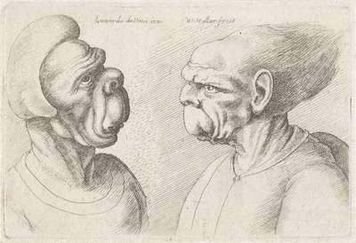 Twee misvormde koppen; Varie figurae et probae; Karikaturen, koppen en misvormingen naar Leonardo da Vinci