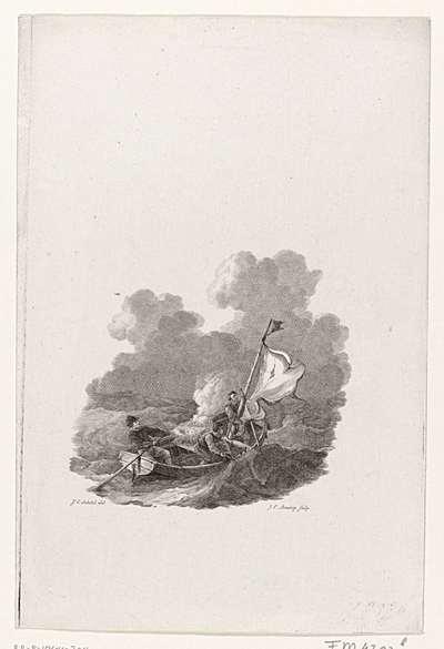 Titelpagina van: Tafereel eener Ontvlugting van Drie Scheveningsche Visschers, met een bootje uit Engeland naar Holland, in januarij van den jare 1781