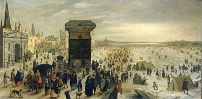 Image from object titled The Kranenhoofd on the Scheldt, Antwerp (Winter Pastime on the Scheldt in Antwerp)