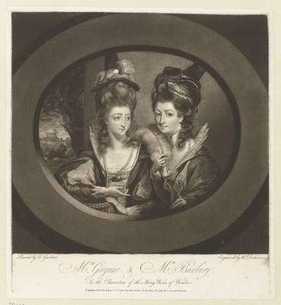 Mrs. Gwynne en Mrs. Bunbury als de 'Merry Wives of Windsor'; 'Mrs. Gwynne and Mrs. Bunbury in the characters of Merry Wives of Windsor', 1780
