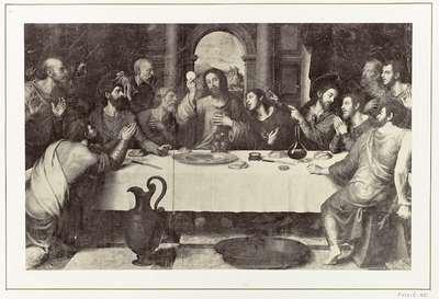 Fotoreproductie van een schilderij door Juan de Juanes, voorstellend het Laatste Avondmaal