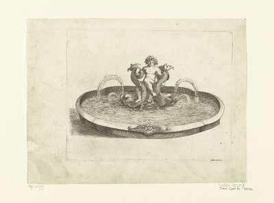 Fontein met putto zittend op drie dolfijnen; Fontaines Et Iets D'Eau (...)