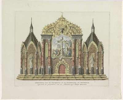 De Vernietiging van de Oude Constitutie, decoratie op de Botermarkt, 1795; Afbeelding van de Decoratie op de Botermarkt te Amsterdam, Opgericht ter gelegenheid van de Alliantie met Vrankryk MDCCXCV; Tien decoraties bij het...