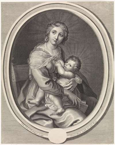 Maria geeft het Christuskind de borst