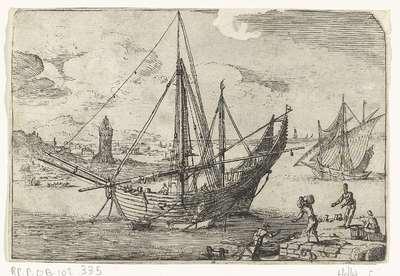 Bark voor anker bij de haven van Messina; Gezichten van de haven van Messina