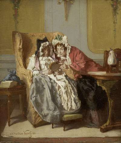Image from object titled Two Ladies Examining a Little Painting