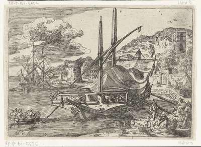 Galei voor anker bij de haven van Messina; Gezichten van de haven van Messina