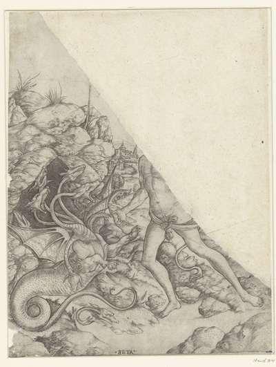 Fragment met Hercules verslaat de Hydra van Lerna