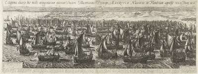 De vlootlanding bij Philippine, 1600; Ectypoma classis bis mille octingentarum navium Ductore Illustrissimo Principe Mauritio Nassovio in Flandriam appulsae. XXII. Juny. M.VI.C.
