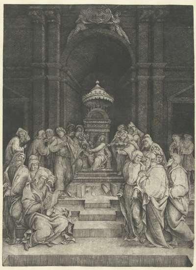 Christus tussen schriftgeleerden in tempel