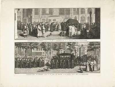 Begrafenissen bij de gereformeerden te Amsterdam en Den Haag, ca. 1730; Ceremonies funébres comme on les fait a Amsterdam & en plussieurs villes de la Hollande / Ceremonies funébres comme on les fait à La Haye, et en...