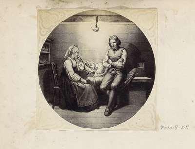 Fotoreproductie van (vermoedelijk) een prent naar een schilderij van Adolph Tidemand