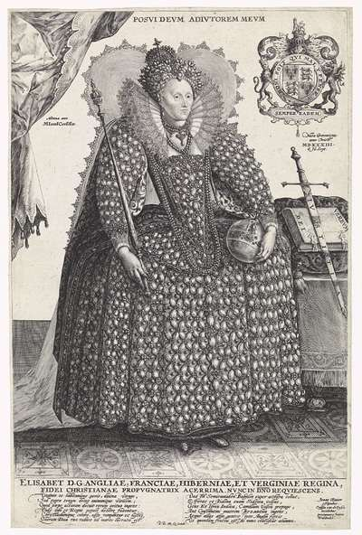 Portret van Elizabeth I Tudor, koningin van Engeland; Posvidevm Adivtorem Mevm