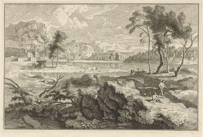 Arcadisch landschap met rotsen en rivier; Italiaanse en Duitse landschappen
