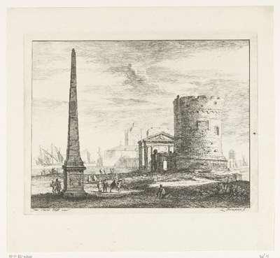 Landschap met Romeinse ruïnes en obelisk