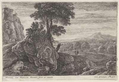 Landschap met een gebouw op een rots; Twaalf landschappen