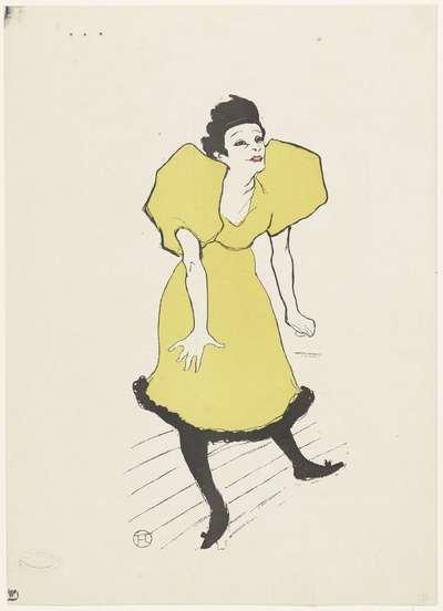 Portret van komediespeelster Polaire op het toneel; Mademoiselle Polaire