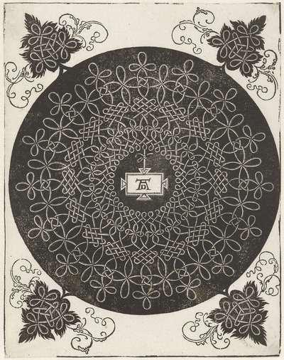 Borduurvoorbeeld met rechthoekig schildje