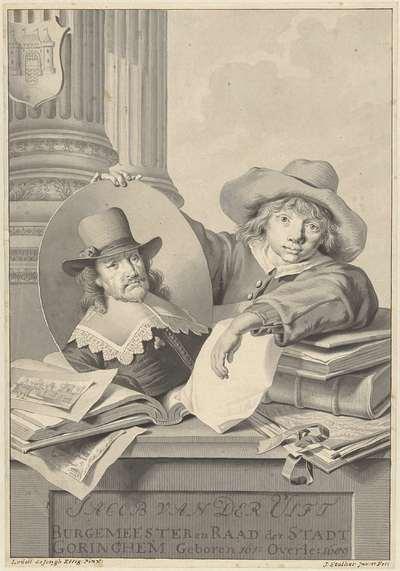 Portret van Jacob van der Ulft, vastgehouden door een jongen