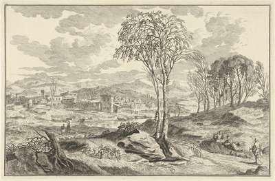 Arcadisch rivierlandschap met stad aan een rivier; Italiaanse en Duitse landschappen