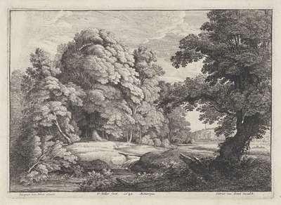 Landschap met bruggetje over een stromende rivier; Landschappen naar Jacques d'Arthois