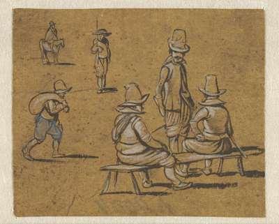 Studieblad met zes verschillende figuurtjes