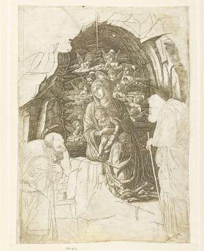 Maria met kind omgeven door engelen in grot met Jozef en koning in aanbidding