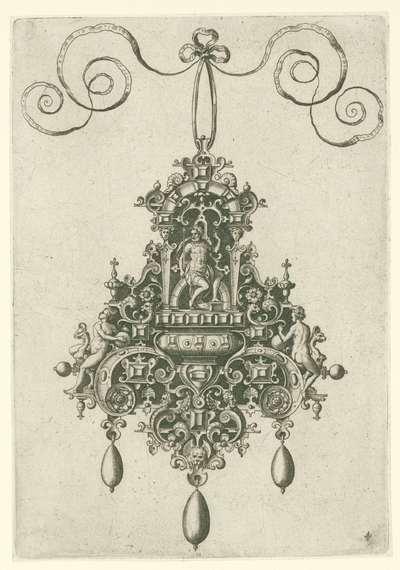 Hanger met zittende geharnaste godheid; Monilium bullarum inauriumque … icones