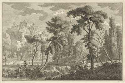 Arcadisch rivierlandschap met badende mannen; Italiaanse en Duitse landschappen