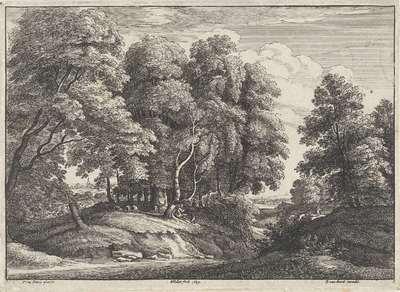 Bosrijk landschap met rustende herder; Landschappen naar Jacques d'Arthois