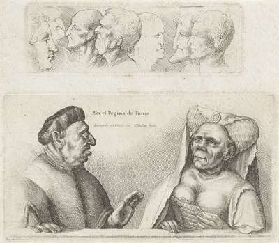 Fries met studiekoppen / Karikaturen van de koning en koningin van Tunesië; Rex et Regina de Tunis; Varie figurae et probae; Karikaturen, koppen en misvormingen naar Leonardo da Vinci