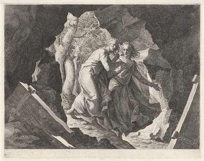 Dante en Vergilius betreden de hel door een poort