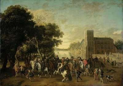 Image from object titled Prince Maurits, Accompanied by Prince Frederik Hendrik, Frederick V of Bohemia and his Wife Elizabeth Stuart, and others, on the Buitenhof, The Hague