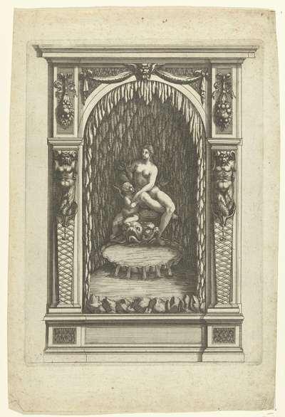 Muurfontein met Venus en Cupido in nis