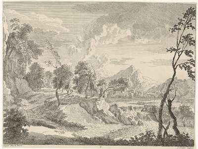 Heuvelachtig landschap met waterval; Landschappen naar Gaspar Poussin
