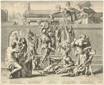 H. Cecilia verdeelt haar kleding onder de armen; Opera Misericordiæ St. Ciciliæ