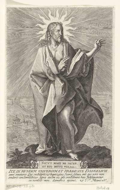 Christus maakt zegenend gebaar; Ite in mundum (...) etc. Marci ulto; Christus en twaalf apostelen
