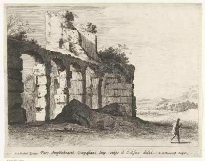 Ruïnes van het Colosseum; Pars Amphitheatri Vespasiani Imp vulgo il Colisaeo dicti; Romeinse ruïnes