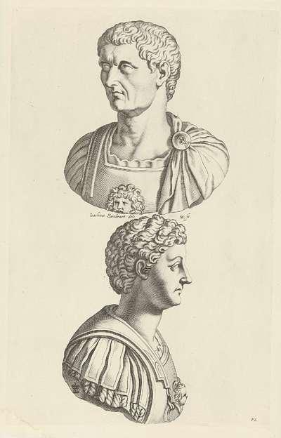 Portretbustes van Claudius en Caligula; Galleria Giustiniana del Marchese Vincenzo Giustiniani II
